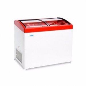 Ларь морозильный с гнутым стеклом Снеж МЛГ-350 красный