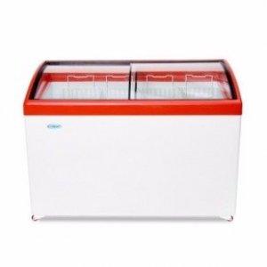 Ларь морозильный с гнутым стеклом Снеж МЛГ-400 красный