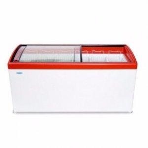 Ларь морозильный с гнутым стеклом Снеж МЛГ-600 красный