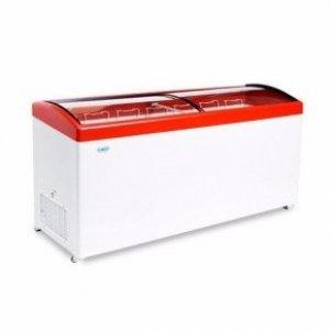 Ларь морозильный с гнутым стеклом Снеж МЛГ-700 красный
