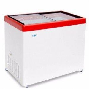 Ларь морозильный с прямым стеклом Снеж МЛП-350 красный