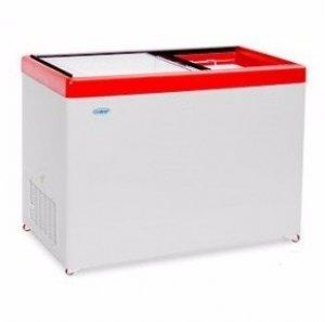 Ларь морозильный с прямым стеклом Снеж МЛП-400 красный