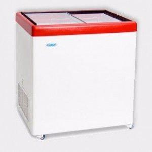 Ларь морозильный с прямым стеклом Снеж МЛП-500 красный