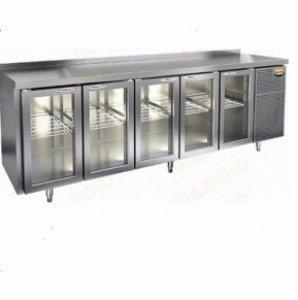 Стол охл. Hicold GNG 11111 BR3 H, 5 стеклянных дверей, 2840х700х950мм