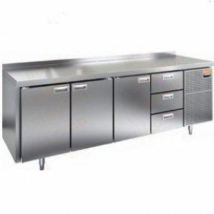 Стол охлаждаемый HiCold GN 11133 BR2 TN (-2+10), 3 двери, 6 ящиков 2840х700х850мм, увелич. объем