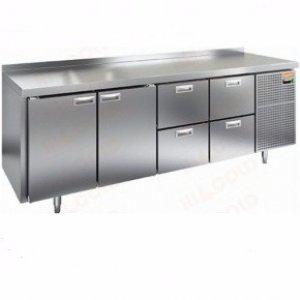 Стол охлаждаемый HiCold GN 1122 BR2 TN (+2+10), 2 двери, 4 ящика, 2395х700х850мм, увелич. объем